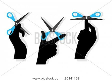 Cut word made of hands and scissors isolated