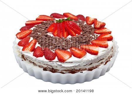 Strawberry Cake isolated on a white background.