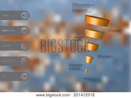 3D illustration infographic template with motif of sloping cone triangle horizontally divided to five orange slices with simple sign and text on side in bars. Blurred photo used as background.