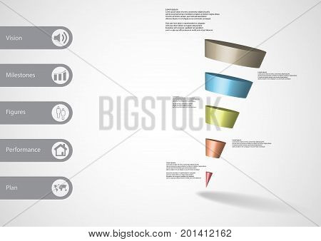 3D Illustration Infographic Template With Sloping Triangle Horizontally Divided To Five Color Slices