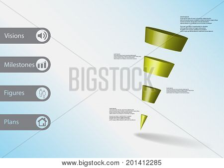 3D Illustration Infographic Template With Sloping Triangle Horizontally Divided To Four Green Slices