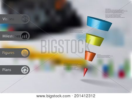 3D illustration infographic template with motif of sloping cone triangle horizontally divided to four color slices with simple sign and text on side in bars. Blurred photo used as background.