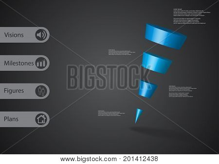 3D Illustration Infographic Template With Sloping Triangle Horizontally Divided To Four Blue Slices