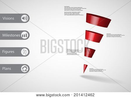 3D Illustration Infographic Template With Sloping Triangle Horizontally Divided To Four Red Slices