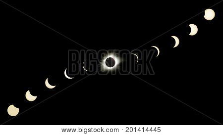 Great American Eclipse Composite Showing All Phases