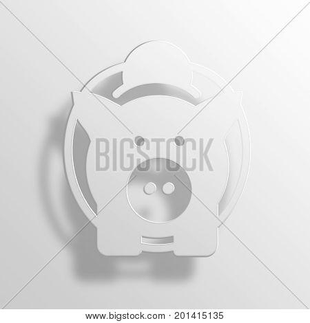 Piggy Bank 3D Rendering Paper Icon Symbol Business Concept