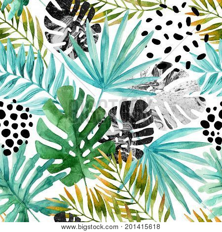 Natural watercolor seamless pattern. Hand drawn abstract tropical summer background: marbled monstera leaves fan palm leaf squiggles dots in circle. Modern art illustration