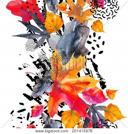 Abstract fall seamless pattern in bright autumn colors. Watercolor graphic painting of falling leaves ink doodle grunge textures. Floral background for fall design. Hand drawn illustration