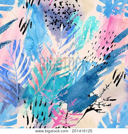 Artistic watercolor seamless pattern. Watercolour natural background with shabby tropical leaves grunge texture splatter brush strokes. Hand drawn abstract floral illustration