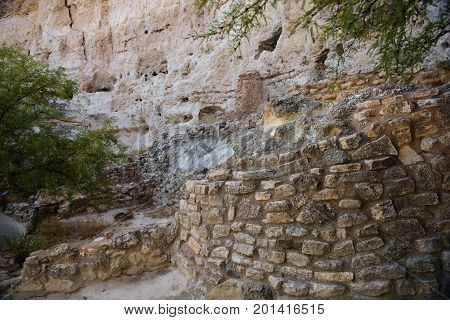 The base of a second cliff dwelling at Montezuma Castle National Monument. This building rose six stories high and contained an estimated fourtyfive rooms
