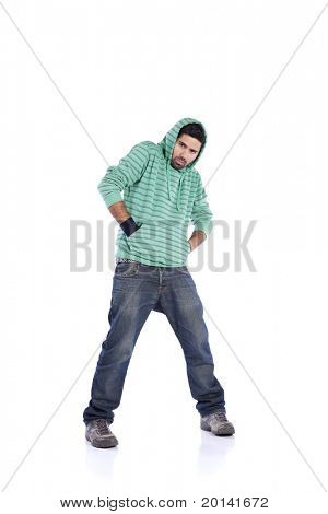 Young rapper posing isolated on white (selective focus)