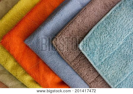 Multicolored microfibre cleaning napkin on the ground