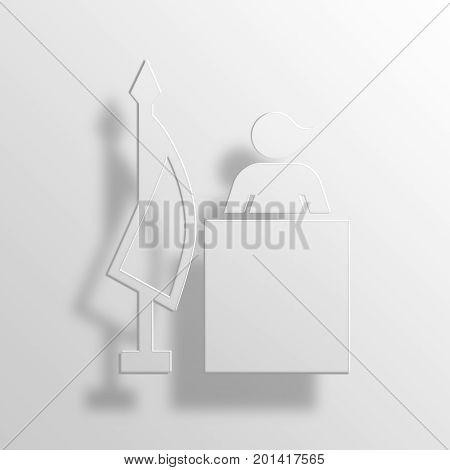 president 3D Rendering Paper Icon Symbol Business Concept