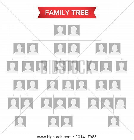 Genealogical Tree Template Vector. Family History Tree With Default People Portraits. Family Tree Chart Illustration