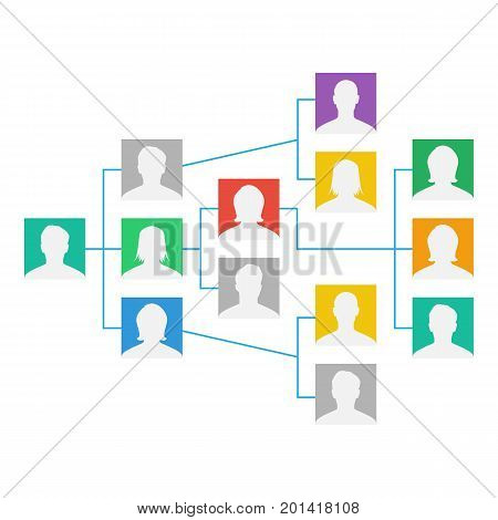 Project Team Vector. Employee Group Organization. Flat Default Employee Avatars. Network Of People. Hierarchical Organization Management System Illustration