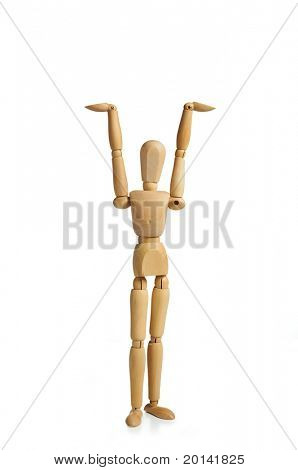 wooden man with hands up to hold up your banner