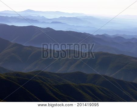 Hazy mountains and valleys in Southern California