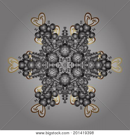 Snowflakes pattern. Snowflakes background. Vector illustration. Snowflake ornamental pattern. Flat design of snowflakes isolated on colorful background.