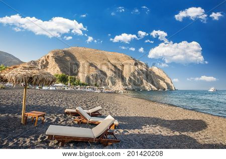 Perisa beach, Santorini, Greece. The black sand beach of Perissa on the Greek island of Thira.