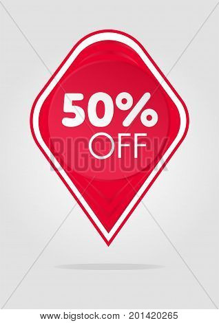 Special offer sale red tag isolated vector illustration. Discount offer price label, symbol for advertising campaign in retail, sale promo marketing, 50 percent off discount sticker, ad offer on shopping day