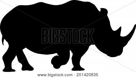View on the silhouettes of a rhinoceros - digitally hand drawn vector illustraion