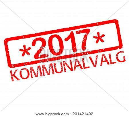 Rubber stamp with text Danish municipalities elections 2017