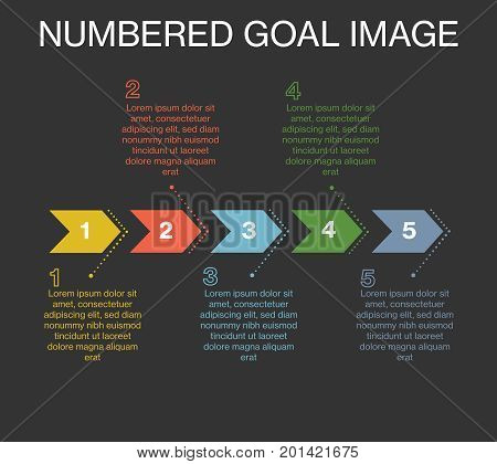 A template / example of a visualized goal image. numbered and color coded. With textspace. EPS and jpg