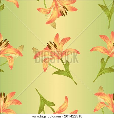 Seamless texture Lily a yellow flower and bud with leaves vector illustration editable Hand drawn