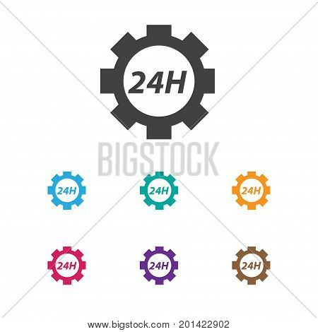 Vector Illustration Of Toolkit Symbol On 24 Hour Service Icon