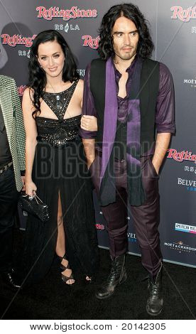 HOLLYWOOD, CA. - NOV 21: Katy Perry & Russell Brand arrive at the 2010 American Music Awards Rolling Stone Magazine Party at Rolling Stone Restaurant and Lounge on November 21, 2010 in Hollywood, Ca.