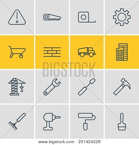 Editable Pack Of Measure Tape, Barrier, Turn Screw And Other Elements.  Vector Illustration Of 16 Construction Icons.