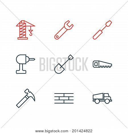 Editable Pack Of Lifting, Turn Screw, Lorry And Other Elements.  Vector Illustration Of 9 Industry Icons.