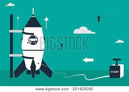 Rocket launch concept. Flat design illustration with rocket stick astronaut figures and detonator box as starter.