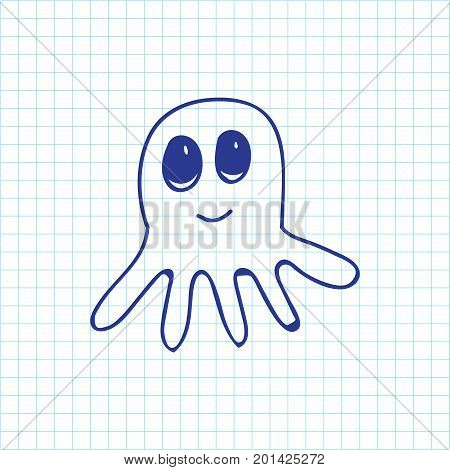 Vector Illustration Of Zoology Symbol On Octopus Doodle