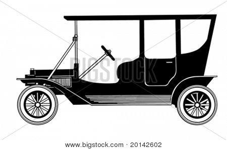 vector retro car on white background