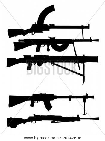 vector silhouettes machine gun on white background