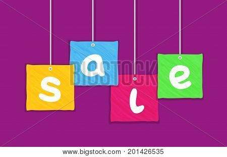 Sale Concept. Hand drawn colorful letters for big Discount offer promotion. Price drop. Flat design element of season hot deal campaign banner. Background for advertisement event. Vector illustration