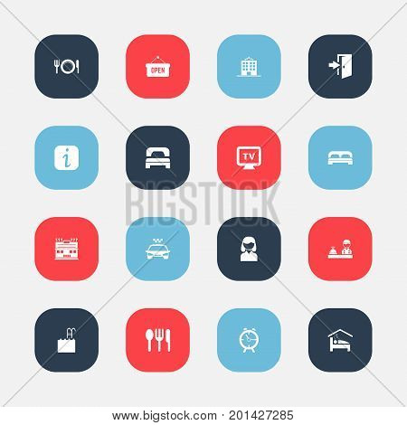 Set Of 16 Editable Motel Icons. Includes Symbols Such As Transport Car, Opened Placard, Check In And More