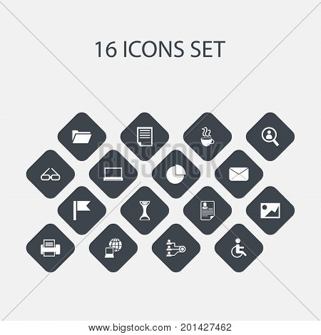 Set Of 16 Editable Bureau Icons. Includes Symbols Such As Pennant, Picture, Magnifier And More