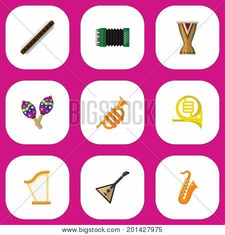 Set Of 9 Editable Multimedia Flat Icons. Includes Symbols Such As Tuba, Sax, Oboe And More