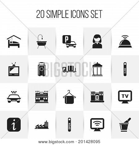 Set Of 20 Editable Motel Icons. Includes Symbols Such As Champagne, Tv, Entrance And More