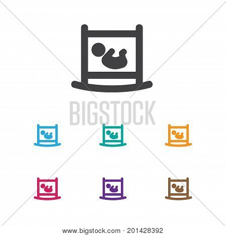 Vector Illustration Of Kin Symbol On Child Cot Icon
