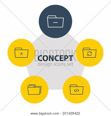 Editable Pack Of Significant, Minus, Folders And Other Elements.  Vector Illustration Of 5 Document Icons.