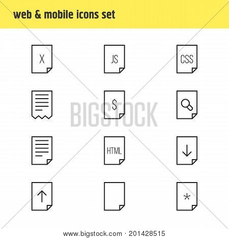 Editable Pack Of Download, Folder, Dollar And Other Elements.  Vector Illustration Of 12 Document Icons.