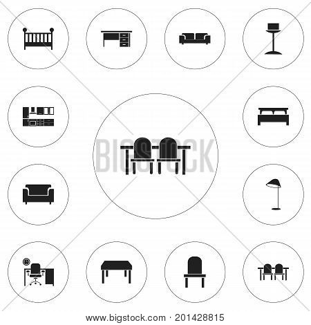 Set Of 12 Editable Furnishings Icons. Includes Symbols Such As Enlightenment, Illuminant, Child Cot And More