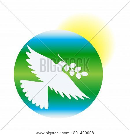 International Day of Peace, dove of peace against the background of earth and sun, vector EPS10