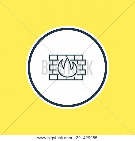 Beautiful Privacy Element Also Can Be Used As Network Protection Element.  Vector Illustration Of Firewall Outline.