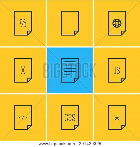 Editable Pack Of Document, HTML, Basic And Other Elements.  Vector Illustration Of 9 File Icons.