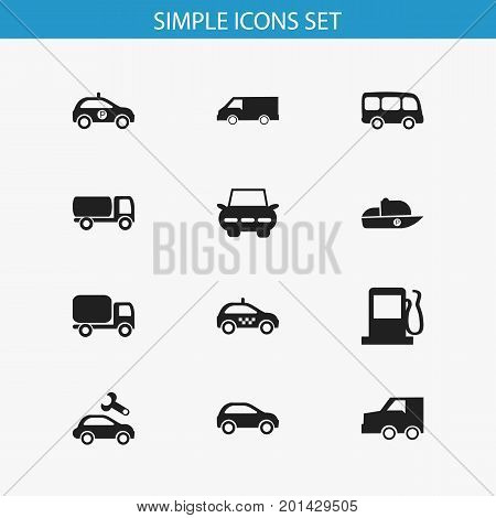 Set Of 12 Editable Transport Icons. Includes Symbols Such As Hatchback, Repairing, Cab And More