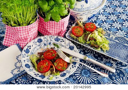 Fresh tomatoes and salad for dinner on blue crockery